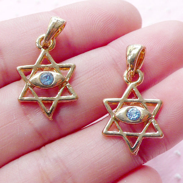 Magen David w/ Evil Eye Charm (2pcs / 13mm x 19mm / Gold with Blue Rhinestone) Sacred Geometry Jewelry Star of David Jewish Judaism CHM1949