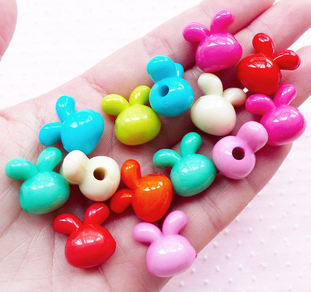 Acrylic Rabbit Beads 3D Bunny Charms (10pcs / 16mm x 16mm / Mix Color) Cute Animal Jewelry Kawaii Plastic Bead Bubblegum Necklace CHM1951