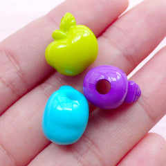 Colorful Apple Acrylic Beads Cute 3D Fruit Charms (10pcs / 14mm x 14mm / Mix Color) Kawaii Plastic Bead Chunky Gumball Necklace CHM1953