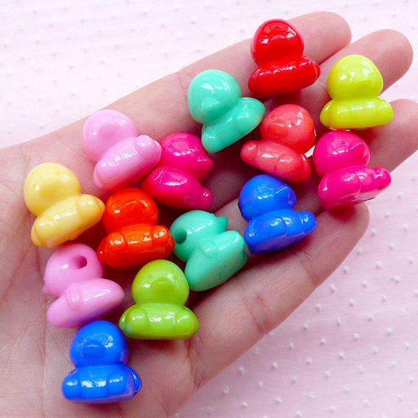 3D Duck Plastic Beads Colorful Animal Charms (10pcs / 16mm x 17mm / Mix Color) Cute Acrylic Bead Kawaii Chunky Necklace Bubble Gum CHM1955