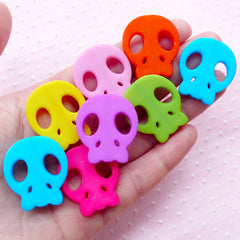 Skull Acrylic Beads Colorful Charms (10pcs / 24mm x 28mm / Mix Color) Cute Plastic Bead Kawaii Chunky Jewelry Gum Ball Bubblegum CHM1954