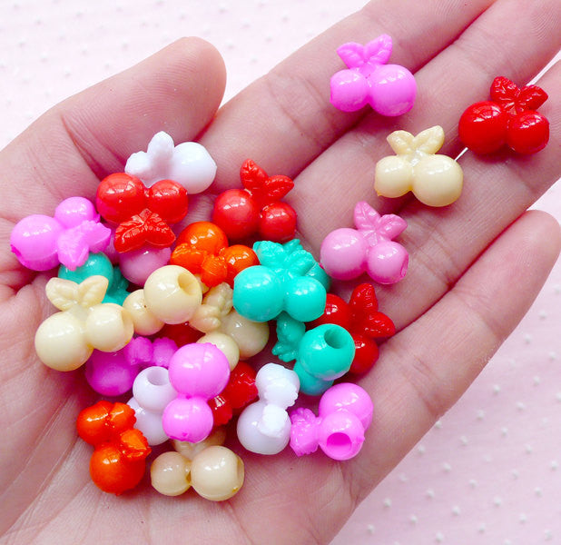 DEFECT 3D Cherry Acrylic Bead Colorful Cherries Charm (20pcs / 14mm x 13mm / Mix Color) Cute Fruit Beads Kawaii Plastic Gumball Bead CHM1956