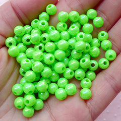 Round Ball Beads (6mm / AB Green / 100pcs) Luster Beads Bubblegum Bead Plastic Bead Acrylic Bead Chunky Gumball Bubble Gum Necklace CHM1960