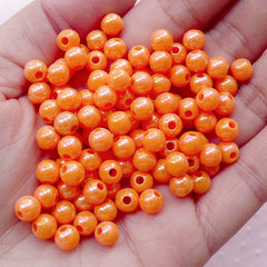 CLEARANCE Bubblegum Round Ball Beads (6mm / AB Orange / 100pcs) Opaque Beads Plastic Bead Acrylic Bead Gumball Bead Chunky Bubble Gum Bracelet CHM1961