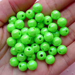 Bubble Gum Round Ball Beads (8mm / AB Green / 50pcs) AB Bead Chunky Plastic Bead Acrylic Bubblegum Jewelry Kawaii Gumball Bracelet CHM1971