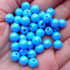 Bubblegum Round Ball Beads (8mm / AB Blue / 50pcs) Opaque Beads Plastic Bead Acrylic Bead Gumball Bead Chunky Bubble Gum Bracelet CHM1973