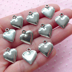 Small Heart Charms Love Drop (10pcs / 14mm x 16mm / Tibetan Silver / 2 Sided) Wedding Party Supplies Valentines Day Gift Decoration CHM1979