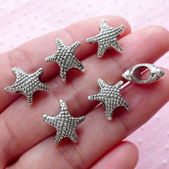 Starfish Beads (6pcs / 13mm x 22mm / Tibetan Silver / 2 Sided) Seastar Sea Star Fish Marine Life Ocean Beach Focal Bead Bracelet DIY CHM1988
