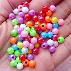 Colorful Round Ball Beads (6mm / 100pcs / Mix Color) AB Color Plastic Bead Chunky Acrylic Bead Gumball Bubble Gum Bubblegum Bracelet CHM1967
