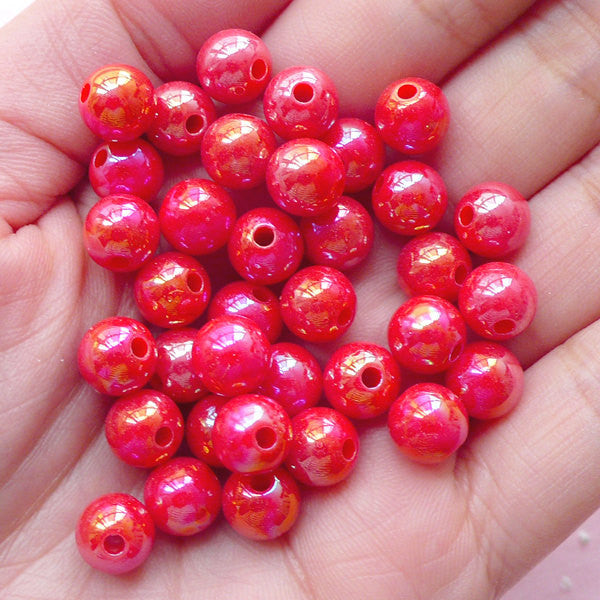AB Bubblegum Round Beads (8mm / AB Red / 50pcs) Chunky Acrylic Bead Plastic Ball Bead Kawaii Gumball Bracelet Bubble Gum Necklace CHM1969