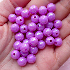 AB Bubble Gum Round Beads (8mm / AB Purple / 50pcs) Chunky Ball Bead Plastic Bead Acrylic Gumball Cute Bubblegum Bracelet Necklace CHM1970