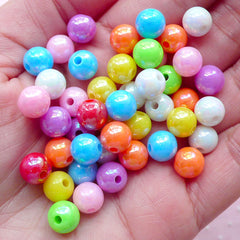 Rainbow Round Beads (8mm / 50pcs / Colorful Mix) AB Color Acrylic Ball Bead Chunky Plastic Gumball Bubble Gum Bubblegum Necklace CHM1976