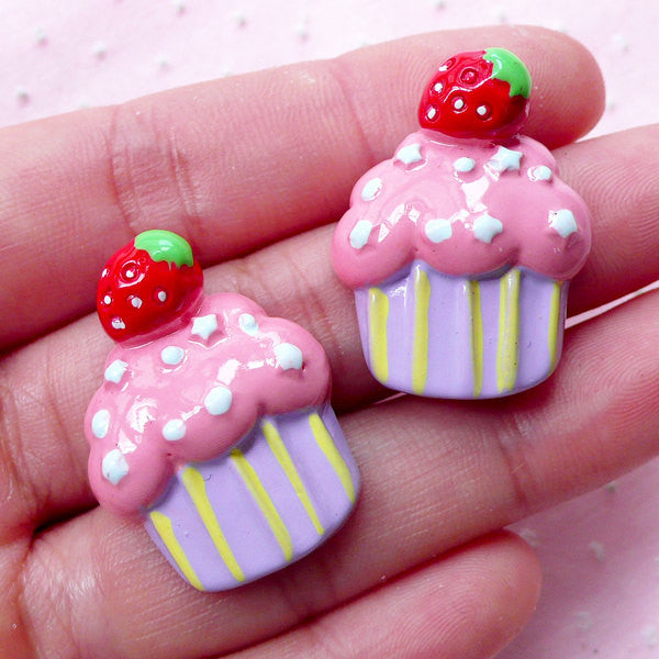 Kawaii Cupcake Cabochon w/ Strawberry (2pcs / 22mm x 28mm / Flat Back) Miniature Sweets Decoden Cute Deco Embellishment Scrapbooking FCAB304