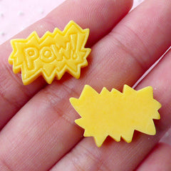 Pow Cabochons Comic Word Cabochon (2pcs / 21mm x 14mm / Yellow / Flat Back) Message Pop Art Cartoon Photo Scrapbooking Embellishment CAB420