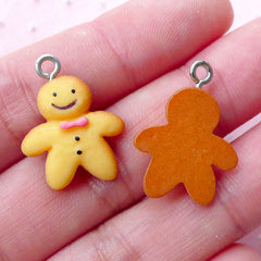 Dollhouse Gingerbread Man Charm Miniature Sweets Cabochon w/ Eye Pin (3pcs / 16mm x 22mm) Kawaii Christmas Cookie Cute Biscuit Charm CHM1995