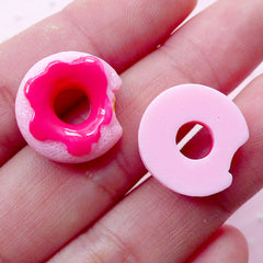 Miniature Doughnut Cabochons Dollhouse Donut Cabochon (2pcs / 16mm x 17mm / Flat Back / Pink) Kawaii Miniature Sweets Phone Deco FCAB303