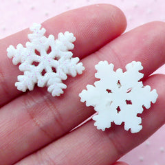 Snowflake Cabochons Snow Flake Cabochon w/ Glitter Powder (3pcs / 18mm x 20mm / White / Flat Back) Winter Deco Christmas Decoration CAB421