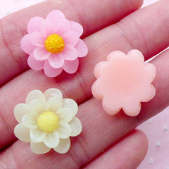 Assorted Flower Cabochon Set Mini Floral Cabochon Mix (3pcs / 17mm / Pastel Color / Flat Back) Earrings Making Phone Case Decoden CAB423