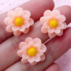 Small Flower Cabochons (3pcs / 17mm / Light Orange / Flat Back) Earrings Hair Pin Headband DIY Cell Phone Deco Floral Scrapbooking CAB424