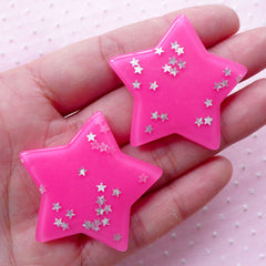 Pink Star Cabochons w/ Star Glitter Sprinkles Confetti Sequin (2pcs / 41mm x 38mm / Dark Pink / Flat Back) Kawaii Decora Kei Jewelry CAB431
