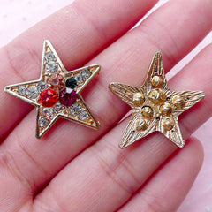 Star Metal Cabochon w/ Colorful Rhinestones (2pcs / 23mm x 24mm / Gold) Brooch Hair Pin Headband Making Decoden Rock Embellishment CAB438