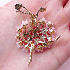 Ballet Metal Cabochon Gorgeous Ballerina w/ Flower & Rhinestones (1 piece / 38mm x 47mm / Gold and Pink) Brooch Elegant Embellishment CAB439