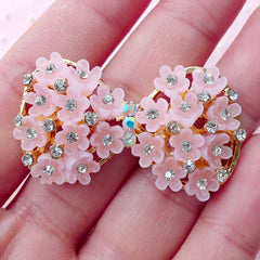 Flower Bow Metal Cabochon w/ Bling Bling Clear Rhinestones (1 piece / 41mm x 23mm / Gold & Pink) Princess Jewelry Wedding Supplies CAB442