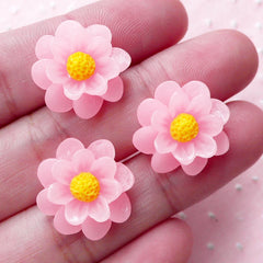 Pink Flower Cabochons (3pcs / 17mm / Pink / Flat Back) Floral Headband Earrings Hair Accessories DIY iPhone Case Cute Decoration CAB426