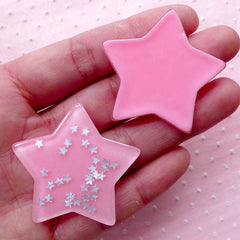 Large Star Cabochons w/ Star Sequin Confetti Sprinkles Glitter (2pcs / 41mm x 38mm / Pink / Flat Back) Kawaii Decoden Cute Scrapbook CAB428