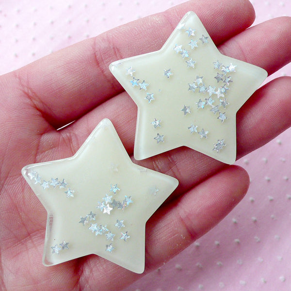 Cute Star Cabochons w/ Star Sprinkles Confetti Sequin Glitter (2pcs / 41mm x 38mm / White / Flat Back) Kawaii Cell Phone Decoration CAB430