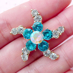 Starfish Metal Cabochon Sea Star w/ Rhinestones (1 piece / 28mm x 26mm / Blue & Clear / Flat Back) Brooch Making Cellphone Decoration CAB436