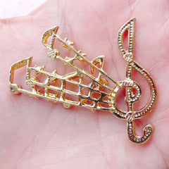 Music Metal Cabochon Music Note G-clef Treble Clef w/ Colorful Rhinestones (1 piece / 47mm x 38mm / Gold) Card Making iPhone Decoden CAB437