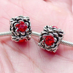 CLEARANCE Barrel Beads w/ Flower Pattern and Rhinestones (2pcs / 12mm x 9mm / Tibetan Silver & Red) Big Hole Bead European Bracelet Dread Bead CHM2011