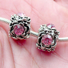 CLEARANCE Barrel Rhinestone Beads w/ Flower Pattern (2pcs / 12mm x 9mm / Tibetan Silver & Pink) Slider Bead Bracelet Focal Bead European Bead CHM2013