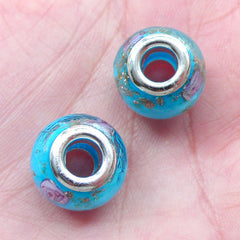 Lampwork Beads w/ Flower & Gold Glitter (2pcs / 14mm x 10mm / Sky Blue) Large Hole Floral Glass Bead Bracelet Big Hole European Bead CHM2015