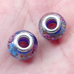 Floral Glass Beads with Gold Glitter (2pcs / 14mm x 10mm / Blue) Lampwork Flower Bead Slider Bead Focal Beads European Bracelet CHM2017