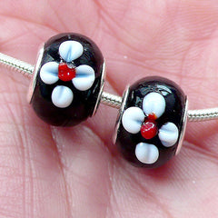 Black Glass Beads w/ White Flower (2pcs / 15mm x 10mm) Large Hole Floral Lampwork Bead Dual Core Focal Beads European Bead Bracelet CHM2023