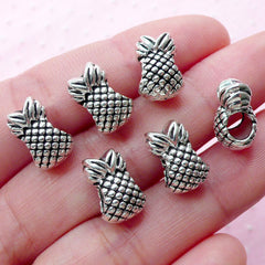 Pineapple Beads (6pcs / 8mm x 13mm / Tibetan Silver / 2 Sided) Tropical Fruit Jewellery Hawaii Bracelet Big Hole European Beads CHM2001