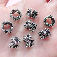 Cross Ring Beads (8pcs / 10mm x 8mm / Gunmetal) Large Hole Beads European Focal Bead Bracelet Dread Bead Dreadlock Accessories CHM2005