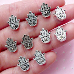 Hamsa Hand Beads (10pcs / 10mm x 11mm / Tibetan Silver / 2 Sided) Fatima Hand Small Hole Beads Religious Focal Bead Thread Bracelet CHM2006