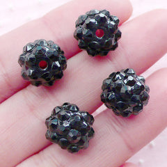 Acrylic Rhinestone Ball Beads (4pcs / 12mm / Black) Plastic Beads Pave Bead Disco Beads Round Bead Loose Beads Bracelet Necklace CHM2008