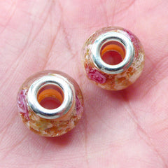 Lampwork Glass Beads w/ Flower & Gold Glitter (2pcs / 14mm x 10mm / Cream) Focal Bead Slider Bead Bracelet Large Hole European Bead CHM2014