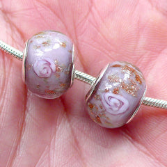 Lampwork Bead w/ Flower & Gold Sprinkles (2pcs / 14mm x 10mm / Purple) Dual Core Floral Glass Beads Large Hole European Bracelet CHM2020