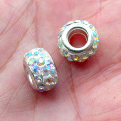 Pave Clay Bead / Rhinestone Bead (2pcs / 12mm x 7mm / White and AB Clear) Dual Core Bead Large Hole Sparkle Bead Bling European Bead CHM2031
