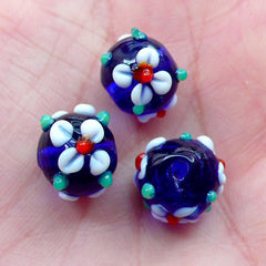 Flower Lampwork Bead / Floral Glass Bead (3pcs / 12mm x 10mm / Dark Blue) Small Hole Focal Bead DIY Thread Bracelet Necklace Earring CHM2036