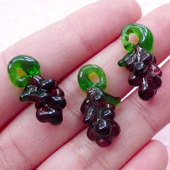 3D Grape Lampwork Charm / Miniature Fruit Glass Charm / Dollhouse Purple Grape Glass Pendant (3pcs / 11mm x 21mm) DIY Wine Charm CHM2034