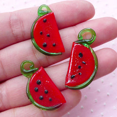 Watermelon Lampwork Charm / Dollhouse Fruit Glass Charm / Miniature Watermelon Glass Pendant (3pcs / 14mm x 29mm / Red & Green) CHM2035
