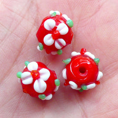 Floral Lampwork Bead / Flower Glass Bead (3pcs / 12mm x 10mm / Red) Small Hole Bead Focal Bead DIY String Bracelet Necklace Earrings CHM2037