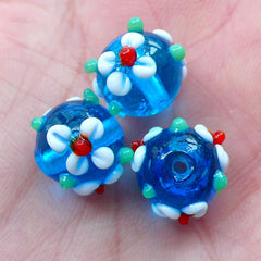 Flower Lampwork Glass Beads (3pcs / 12mm x 10mm / Blue ) Floral Focal Bead Small Hole Beads String Necklace Bracelet Earrings Making CHM2038