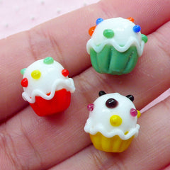 Cupcake Glass Beads / Miniature Sweets Lampwork Bead (3pcs / 13mm x 13mm / Colorful Mix) Focal Bead Small Hole Beads Kawaii Jewelry CHM2039